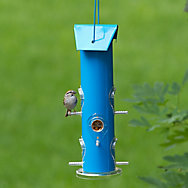 Perky-Pet® Blue Metal Tube Bird Feeder - 1 lb Seed Capacity