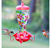 Perky-Pet® Hand Painted Glass Hummingbird Feeder