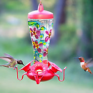 Perky-Pet® Hand Painted Glass Hummingbird Feeder - 10 oz Nectar Capacity
