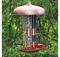 Perky-Pet® Copper Finish Triple Tube Bird Feeder - 10 lb Seed Capacity