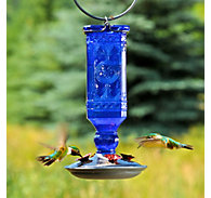 Perky-Pet® Cobalt Blue Antique Bottle Glass Hummingbird Feeder