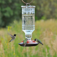 Perky-Pet® Clear Antique Bottle Glass Hummingbird Feeder