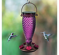 Perky-Pet® Diamond Wine Top-Fill Glass Hummingbird Feeder