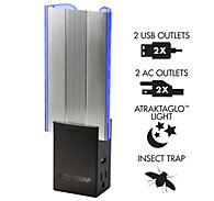 DynaTrap Flylight Insect Trap with 2 AC Outlets and 2USB Ports In Black