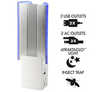 DynaTrap Flylight Insect Trap with 2 AC Outlets and 2 USB Ports In White