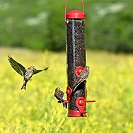Perky-Pet® Red 2-in-1 Tube Bird Feeder - 1.8 lb Seed Capacity