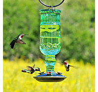 Perky-Pet® Green Antique Bottle Glass Hummingbird Feeder - 24 oz Nectar Capacity